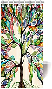 "HommomH"" 36"" x 72"" Shower Curtain with Hooks Bathroom Waterproof Tree of Life Colorful"
