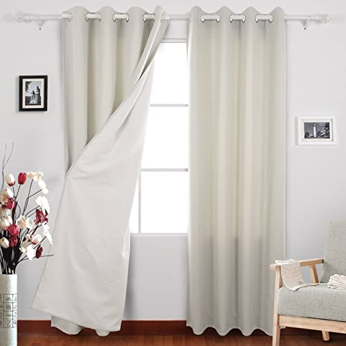 Deconovo Grommet Top Curtains Textured Faux Linen Window Treatment Panels for Living Room, 52×63, Greyish White