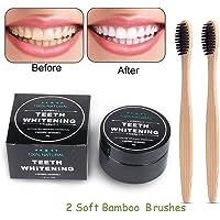 Zahnaufhellung Aktivkohle pulver,Teeth Whitening Powder,Natürliches Aktivkohle Zahnaufhellung Pulver mit 2 Bambus Zahnbürste (A)