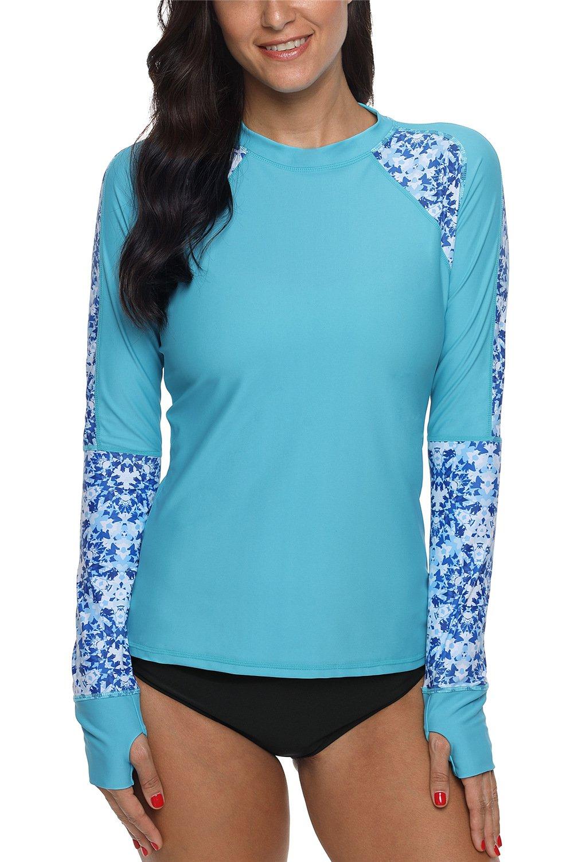 ALove Women Floral Rash Guard Shirts Surf Shirts UV Swim Tops Blue Medium by ALove