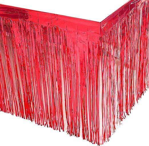 Proms 2 Pack Blue Metallic Foil Fringe Table Skirts Tinsel Party Table Skirt for Rectangle Table Mardi Gras Bachelorette Parties