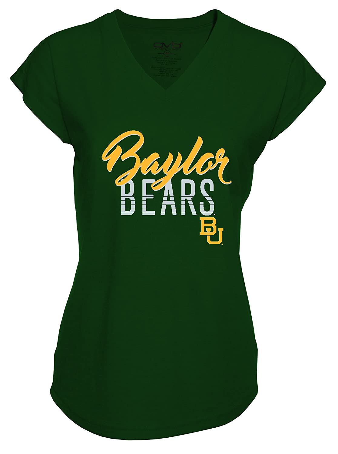 Old Varsity Brand NCAA Baylor Bears Womens Plus V-Neck Tri Blend T-Shirt 3X Forest Green