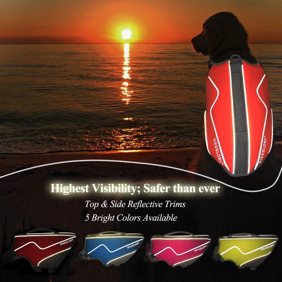 Snug /& Safer Dog Life Vest with Superior Buoyancy /& Rescue Handle Vivaglory New Neoprene Sports Style Dog Life Jackets