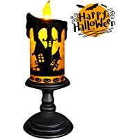 Eldnacele Halloween Snow Globe Candles Lighted Lamp, Battery Operated Spooky Spinning Water Glittering Tornado Candles Flameless Candles Table Centerpiece for Halloween Celebration Parties(Castle)