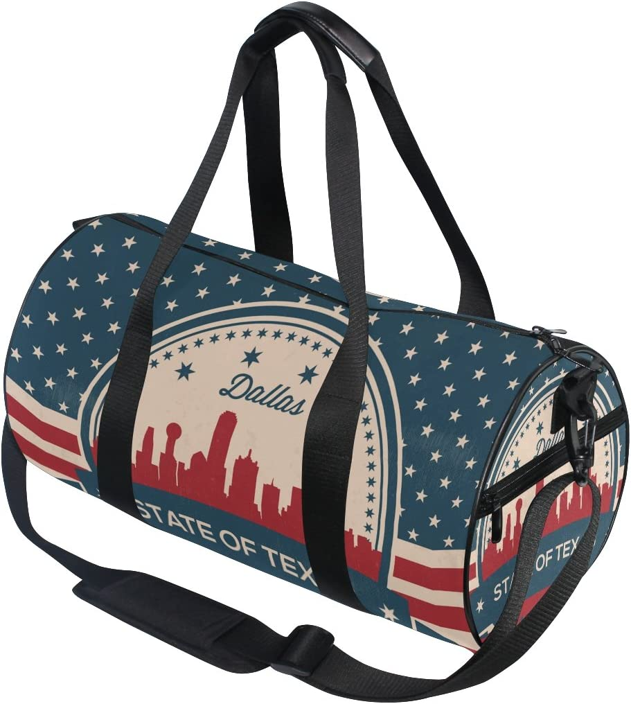 Texas State Dallas Skyline Travel Duffle Gym Fitness Bag with Shoes Compartment
