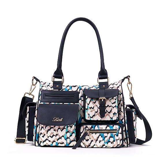 LA CLE Multi-Pockets Top Handle Waterproof Printed Denim Cotton Canvas Crossbody Shoulder Handbag