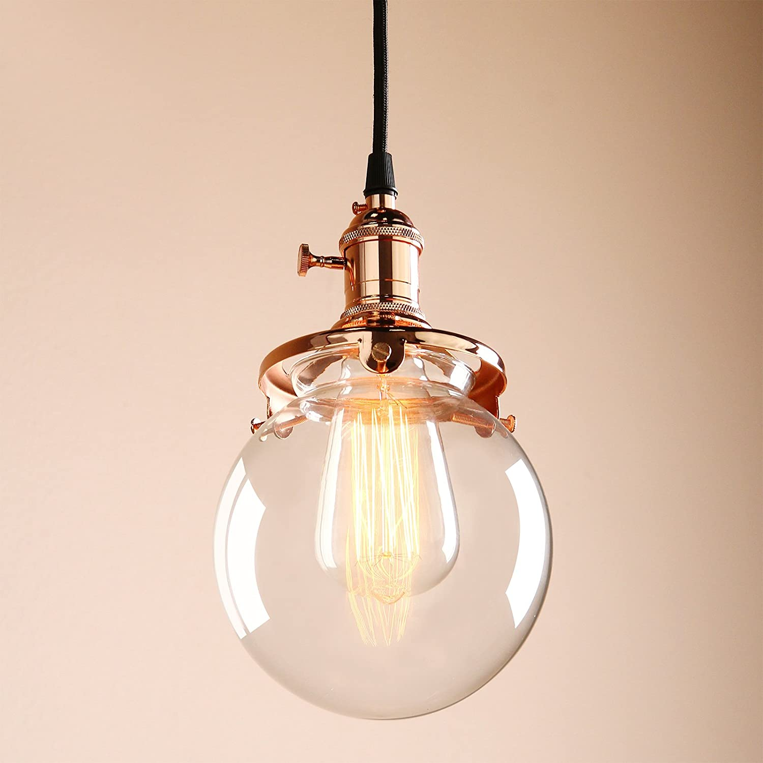 Permo vintage industrial pendant light fixture mini 59 round permo vintage industrial pendant light fixture mini 59 round clear glass globe hand blown shade copper amazon arubaitofo Image collections
