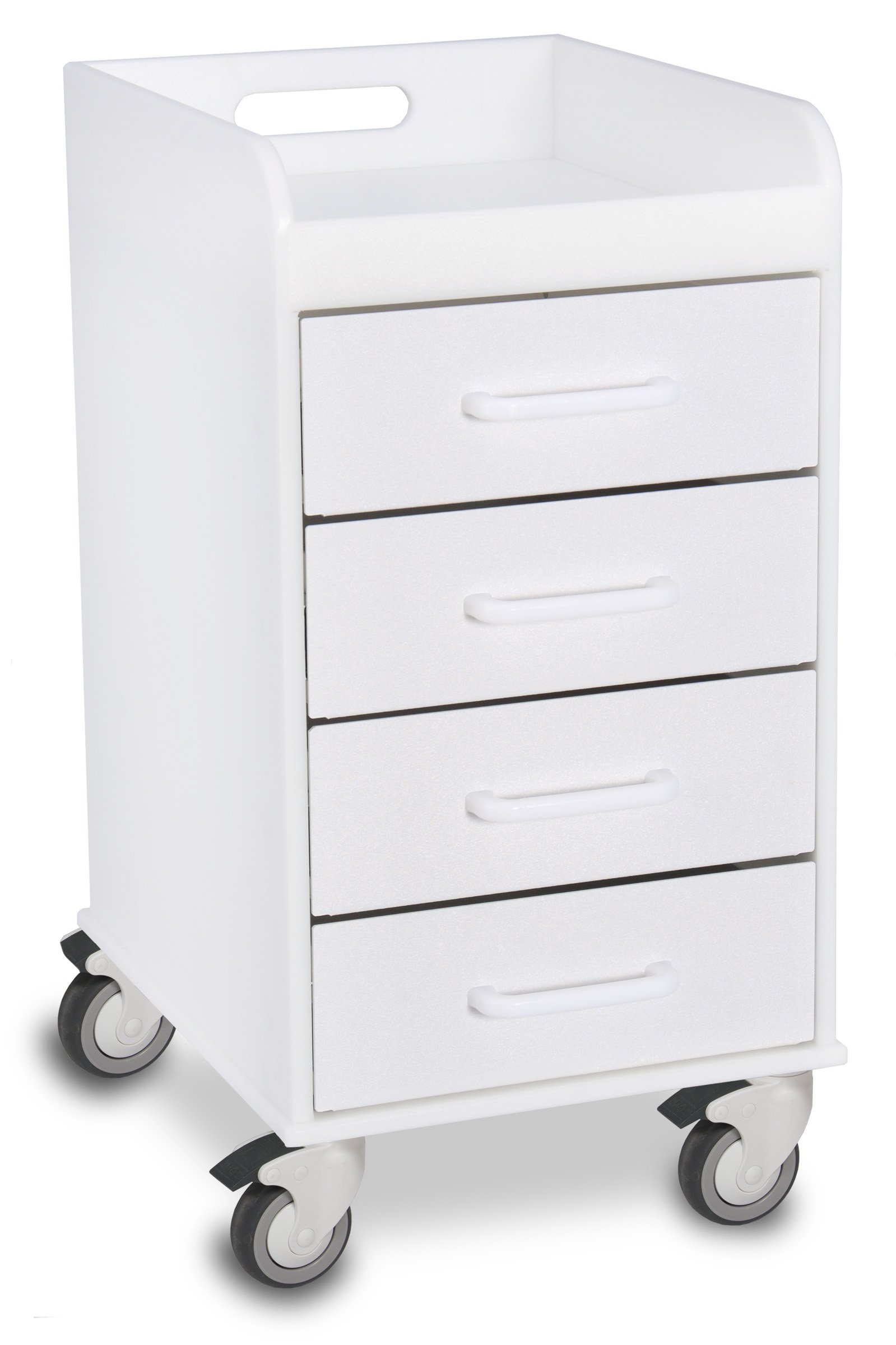 TrippNT 51032 Polyethylene Compact Locking Cart, 14'' Width x 27'' Height x 19'' Depth, 4 Drawers, White by TrippNT