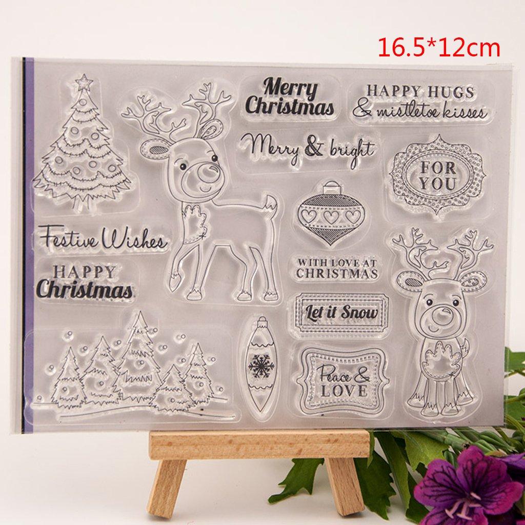 hothap creativos feliz navidad Deer transparente transparente sello DIY silicona Scrapbooking tarjeta regalo