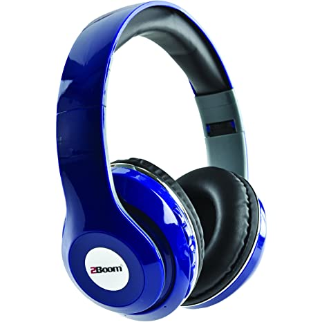 2BOOM Epic Jam Wireless Bluetooth Over Ear Foldable Headphones Bass Stereo Headset Blue