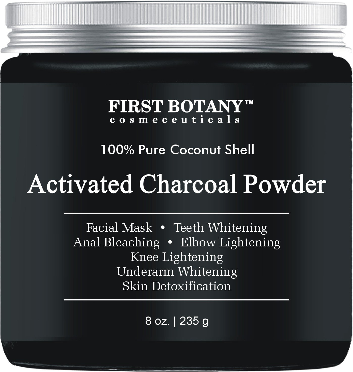 Activated Charcoal Powder 8 oz for DIY Recipes - Teeth Whitening, Facial Masks, Facial Scrubs, Knee Lightening, Underarm Lightening, Homemade Eyeliner &Mascara by First Botany Cosmeceuticals