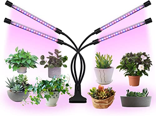 Plant Light for Indoor Plants, LaMuVii Upgraded 4 Arms Grow Light Full Spectrum with 3 9 12H Timer 5 Dimmable Levels, Desk Plant Lamp for Greenhouse Hydroponics Succulent Flower