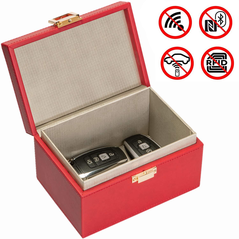 Samfolk Bo/îte /à Bloquer Signal Radio de Cl/é sans Contact Noir Protection de 3 /à 5 Cl/és Boitier en PU pour Prot/éger Voiture du Vol Piratage /à Distance Garantit S/écurit/é de Voiture