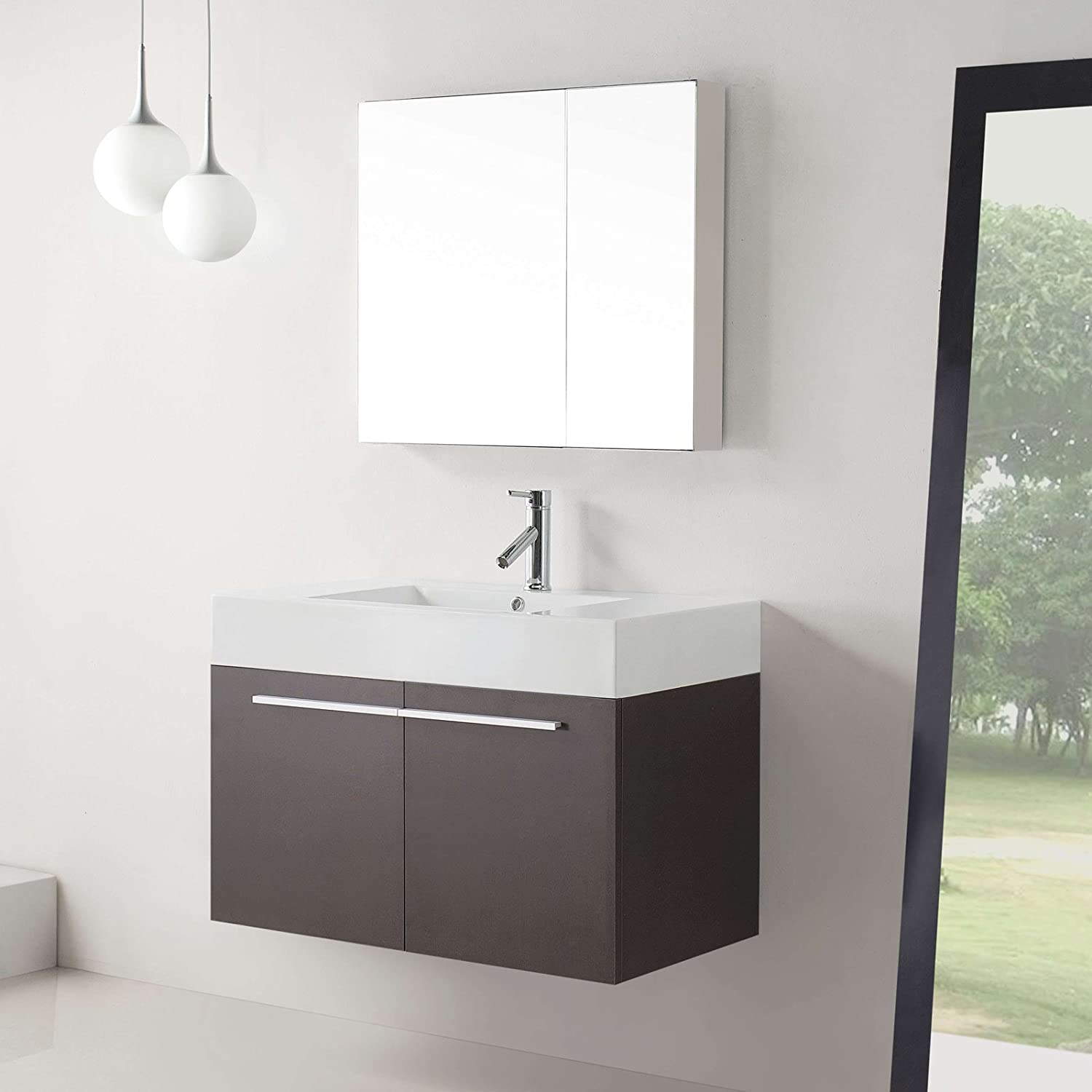 Virtu USA JS 50136 GW 36 Inch Midori Single Sink Bathroom Vanity, Gloss  White     Amazon.com