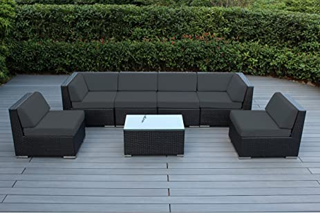 Ohana Outdoor Furniture Sectional Sofa 7 PC All Weather Black Wicker  Seating With Dark Gray