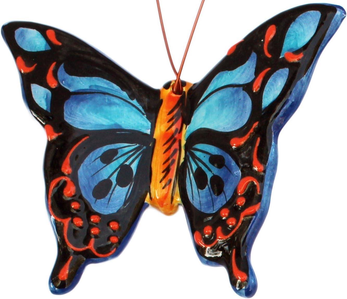 Tropische Schmetterlinge Set Mit 4 Kleinen Keramik Wandaufhängern Handbemalt Aus Spanien