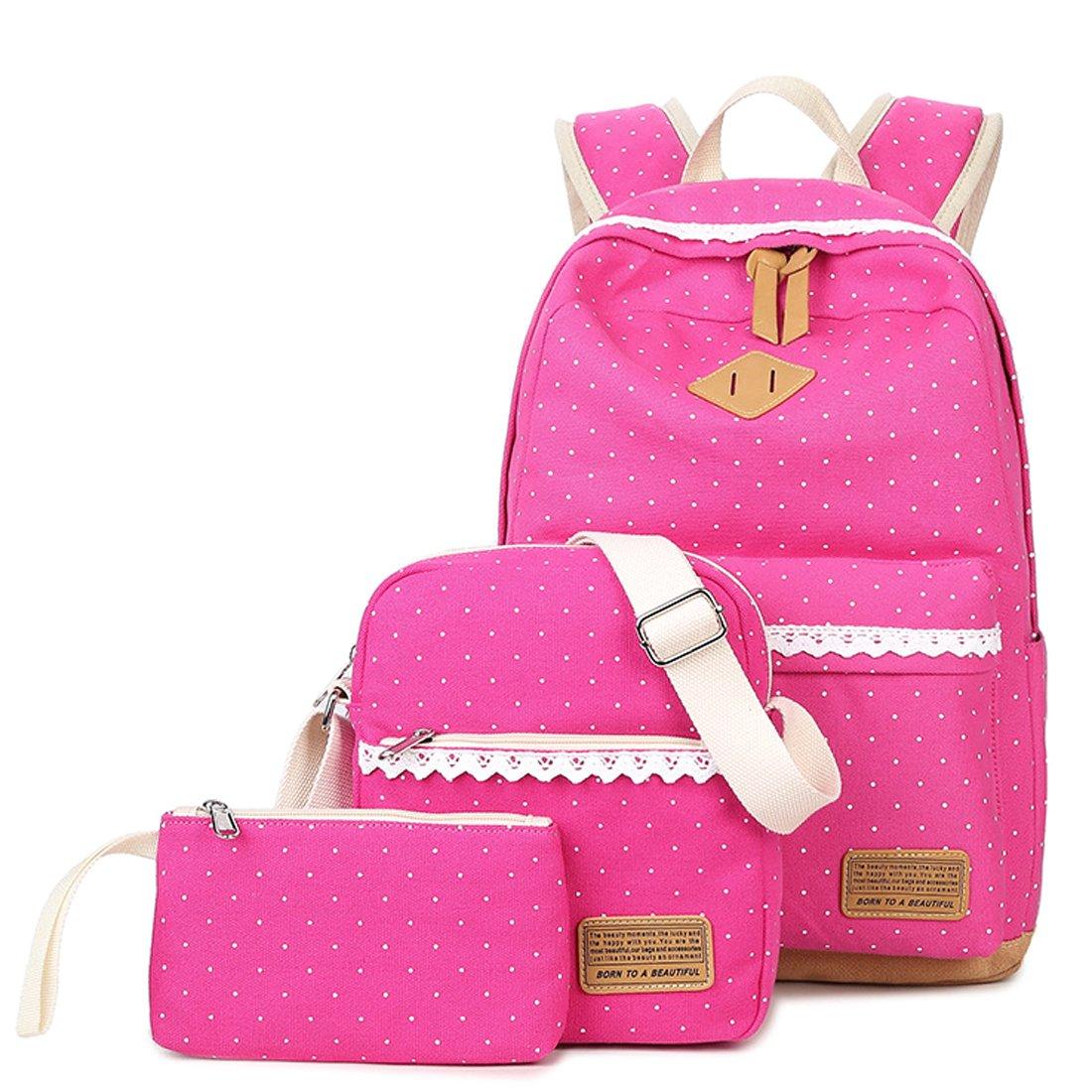 3PCS School Backpack Bag Daypack Shoulder Bag Pencil Case Set Fits 15.6inch Laptop HT