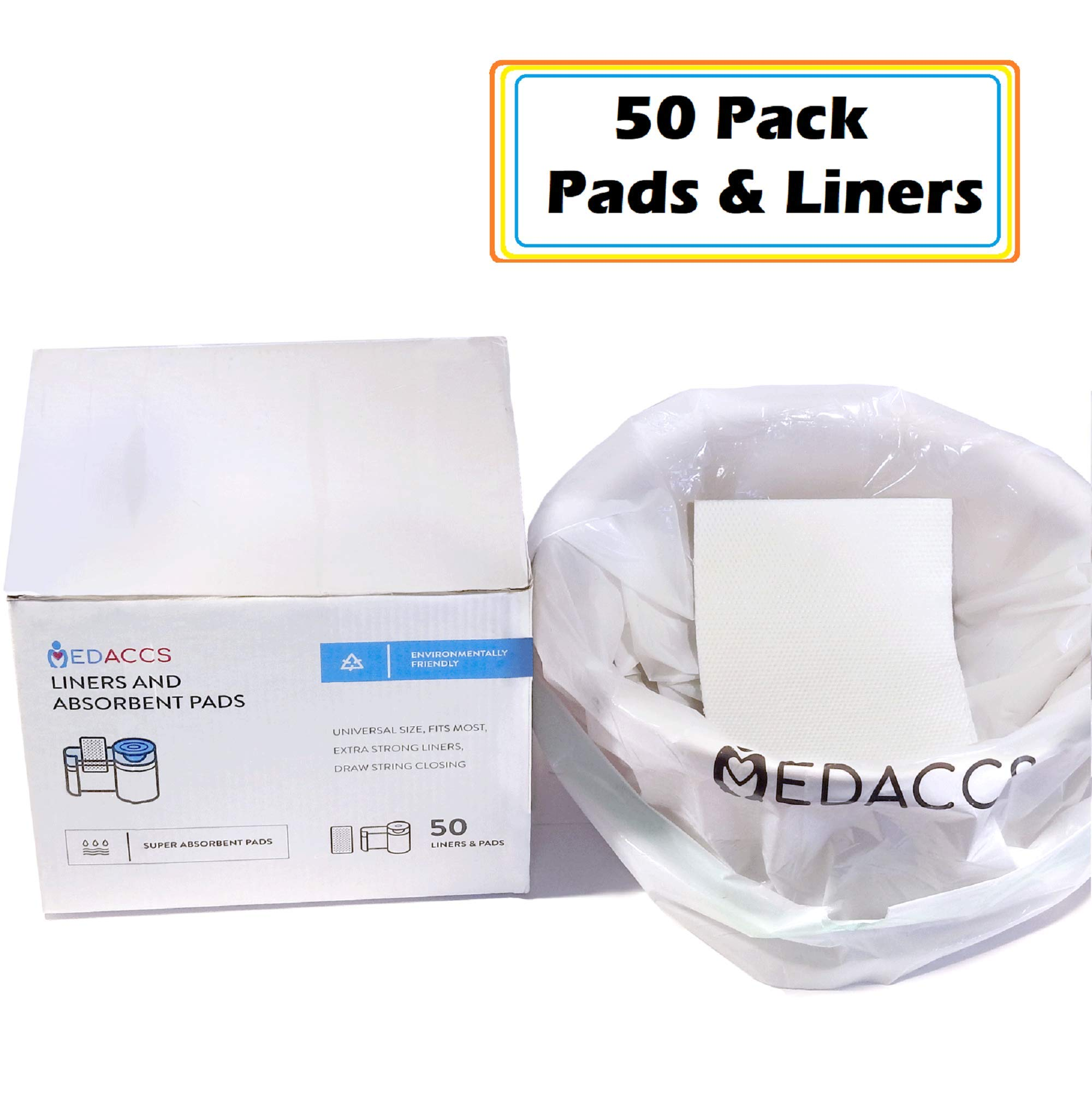Bedside Commode Liners and Absorbent Pads 50 Pack - for Elderly, Sick Patients, Nurses - Bathroom Set for Toilets, Buckets, Pails - Leak-Proof, Eco-Friendly, Biodegradable