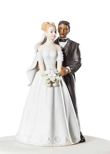 Amazon.com: Elegant Interracial Wedding Cake Topper Figurine ...