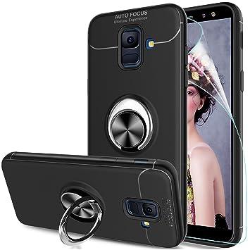 LeYi Compatible con Funda Samsung Galaxy A6 2018 con Anillo Soporte, 360 Ring Magnético Gel TPU de Silicona Case Carcasa para Galaxy A6 2018 con HD ...