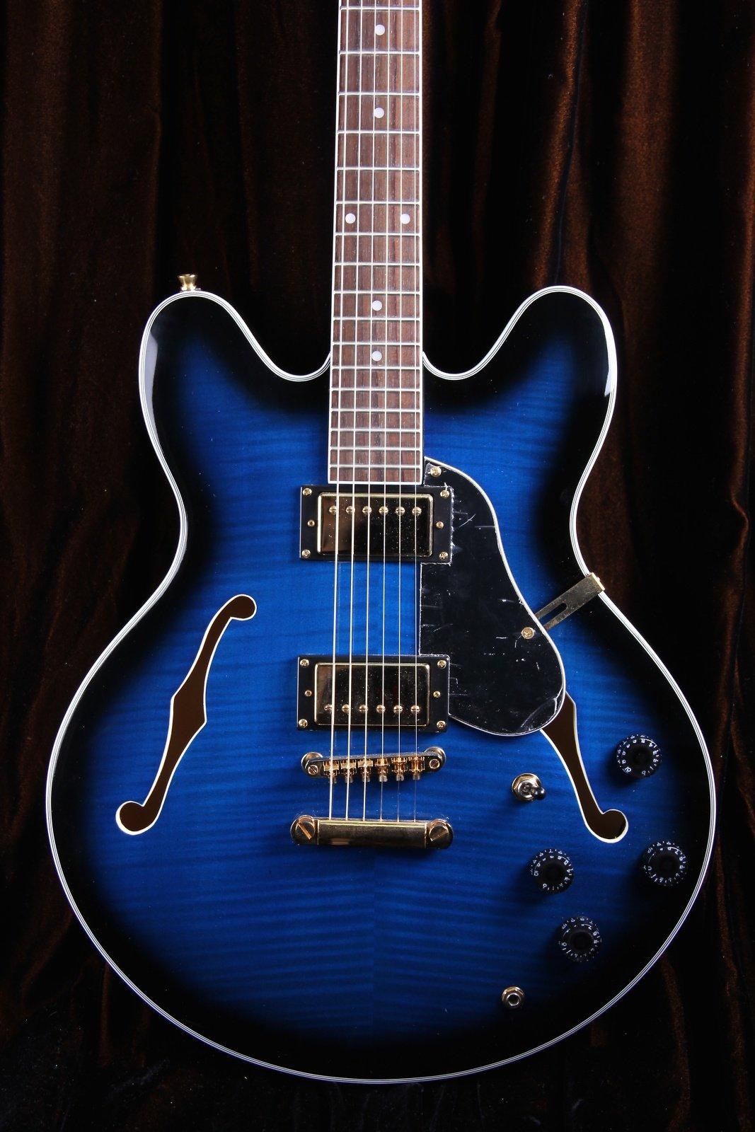 Oscar Schmidt OE30 Delta Blues Semi Hollow Electric Guitar, BlueBurst, OE30FBLB by Oscar Schmidt
