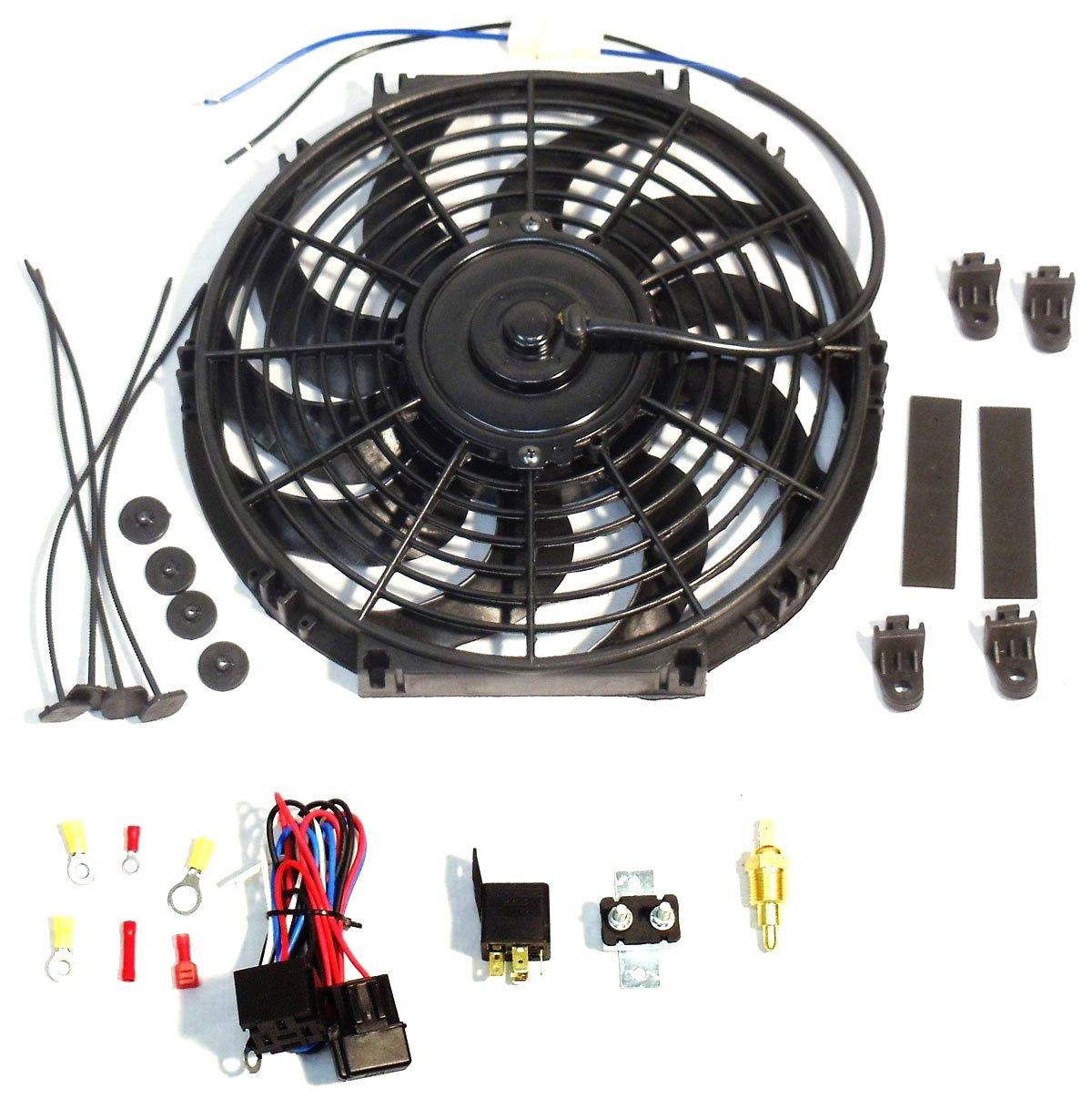 16' Electric Curved Blade Reversible Cooling Fan 12v 3000 CFM with Thermostat Kit DEMOTOR DER-PC453+PE032