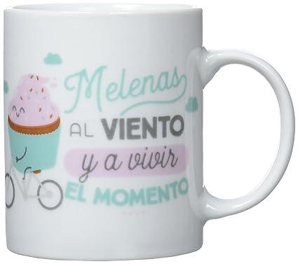 Mr. Wonderful Taza Melenas Al Viento y A Vivir El Momento, Porcelana, Blanco