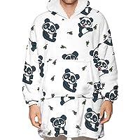 Natsuki Oversized Flannels for Women Men Panda Pattern Wearable Blanket Sweatshirts with Long Sleeve and Big Pocket…