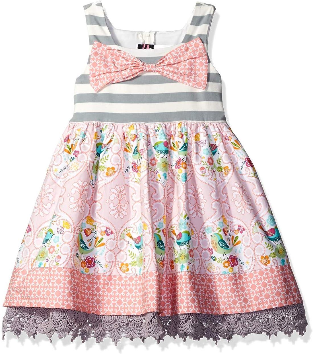 Baby Girls Gray Stripe Vintage Style Baby Dress