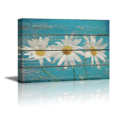 wall26 - Canvas Prints Wall Art - Retro Style Flowers on Sky Blue Vintage Wood Background Rustic Home Decoration - 24  x 36