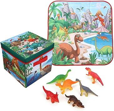 Tnfeeon Juego de Dinosaurios y Caja de Almacenamiento de Juguetes con 6 Juguetes de Figuras de Dinosaurios: Amazon.es: Juguetes y juegos
