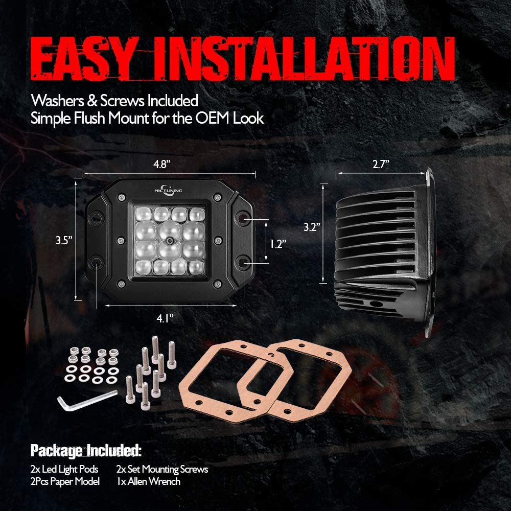 2 Pack Flush Mount Pods Offroad Driving Lights 3780LM Comb Light Bar MICTUNING 5 Quad-Row LED Cubes