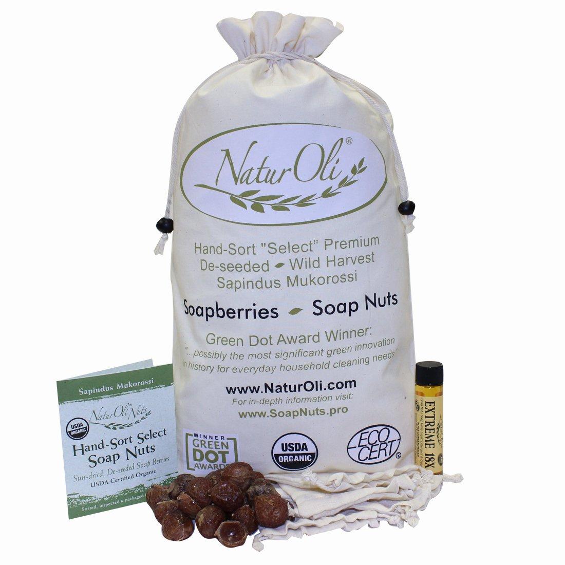 NaturOli Soap Nuts/Soap Berries. 4-Lbs USDA Organic (960 Loads) + 18X Bonus! (12 Loads) Select Seedless, 4 Wash Bags, Tote Bag, 8-pg info. Organic Laundry Soap/Natural Cleaner. Processed in USA!