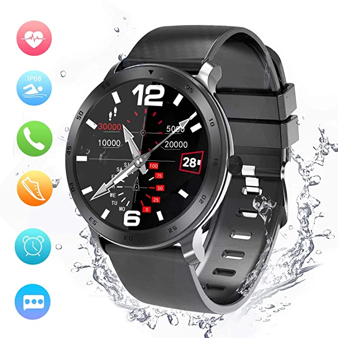 Smartwatch, Reloj Inteligente Impermeable IP68 Pulsera Actividad Inteligente Mujer Hombre, Reloj Deportiva Cronómetro/Monitor de Ritmo Cardíaco/Sueño/Anti-Perdida Fitness Tracker para iOS y Android