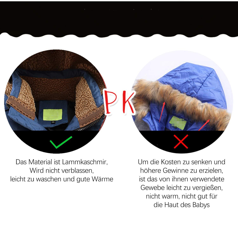 CARETOO Jungen Daunenjacke Verdicken K/äLteschutz Lange Jacke Winterjacke Jungen M/äDchen Daunenjacke Mit Abnehmbar Kapuze
