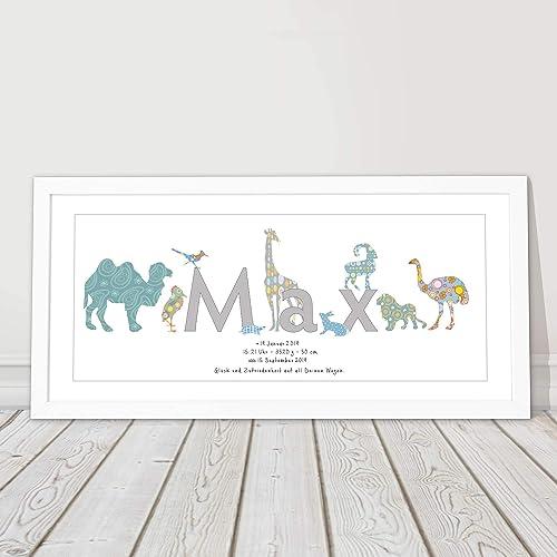 Kinderbild Mit Rahmen Kinderzimmer Geschenk Personalisiert