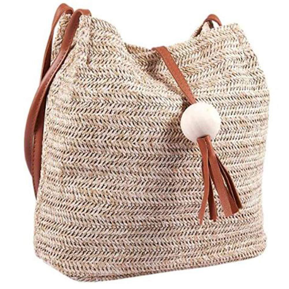 zyy rottingväska strandväska, handgjord läder axelväska rund halmstrandväska rund rottingväska för flickor liten bohemisk axelväska, A b