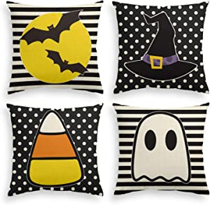 AVOIN Halloween Bat Witch Hat Candy Corn Ghost Throw Pillow Cover, 18 x 18 Inch Stripes Polka Dot Cushion Case for Sofa Couch Set of 4