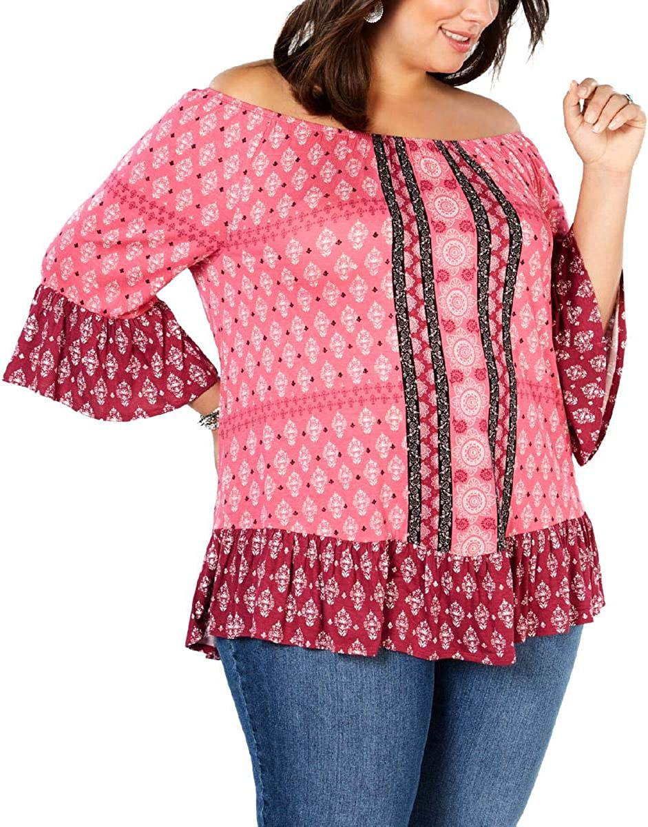 Style /& Co Womens Plus Off-The-Shoulder Paisley Pullover Top