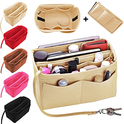 50d06a659650 Luxury Purse Organizer Felt Bag Organizer Handbag Tote Bag in Bag with  zipper (M,