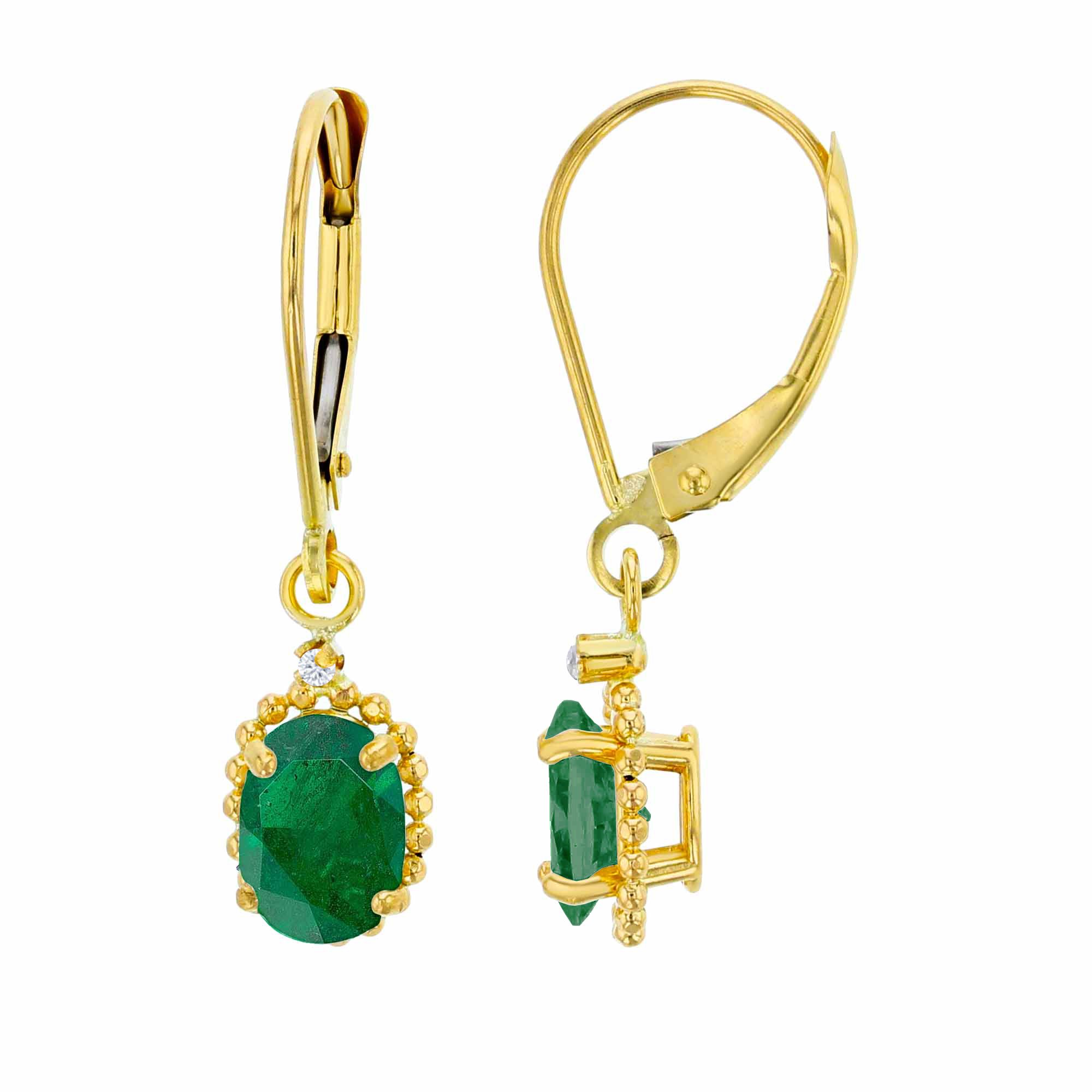 14K Yellow Gold 1.25mm Round White Topaz & 6x4mm Oval Emerald Bead Frame Drop Leverback Earring