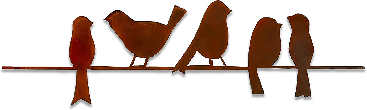 Elizabeth Keith Designs Metal Five Birds On A Wire Wall Decor Rust Color, 24 Inches Long
