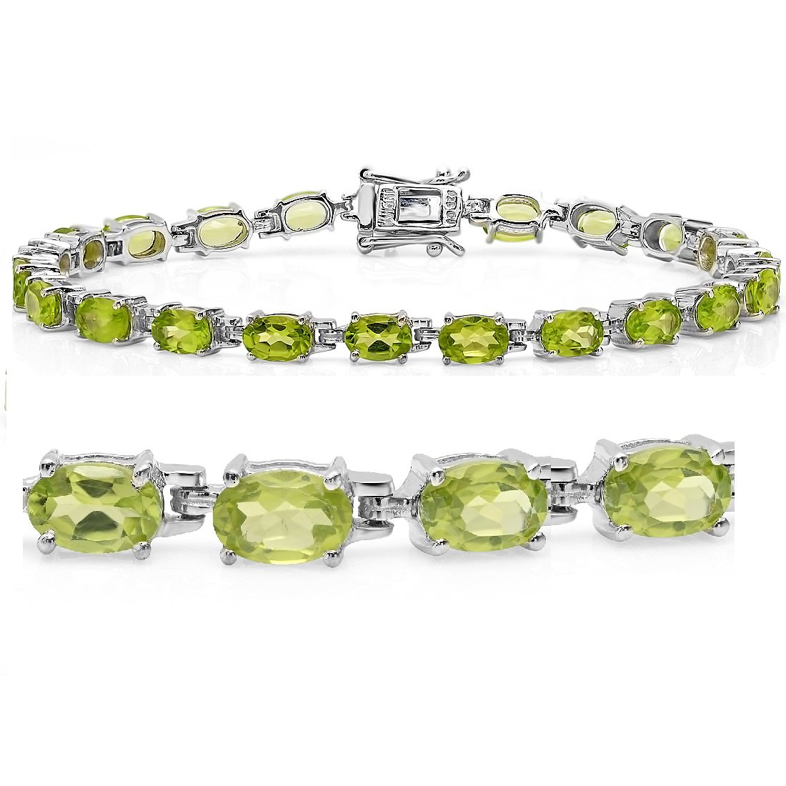 9ct tgw Peridot Tennis Bracelet in Sterling Silver 7 1/4 inch by Amanda Rose Collection