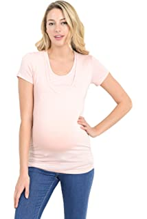 a612e77e7c7 LaClef Women's Doubled Layered Scoop Neck Ruched Maternity Nursing  Breastfeeding Top