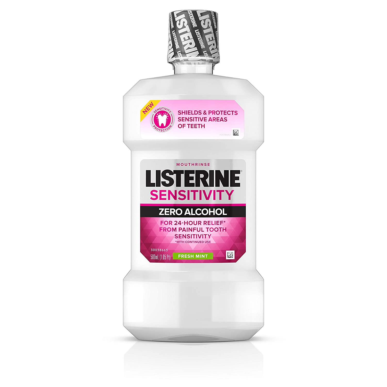 Listerine 24-HR Tooth Sensitivity Relief & Protection Alcohol-Free Formula Sensitivity Mouthwash, Fresh Mint Flavor, 16.9 Fl Oz