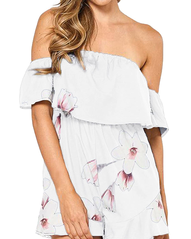 8c6ba2f6ecf6 Amazon.com  SUNNYME Women s Floral Rompers Off Shoulder Summer ...