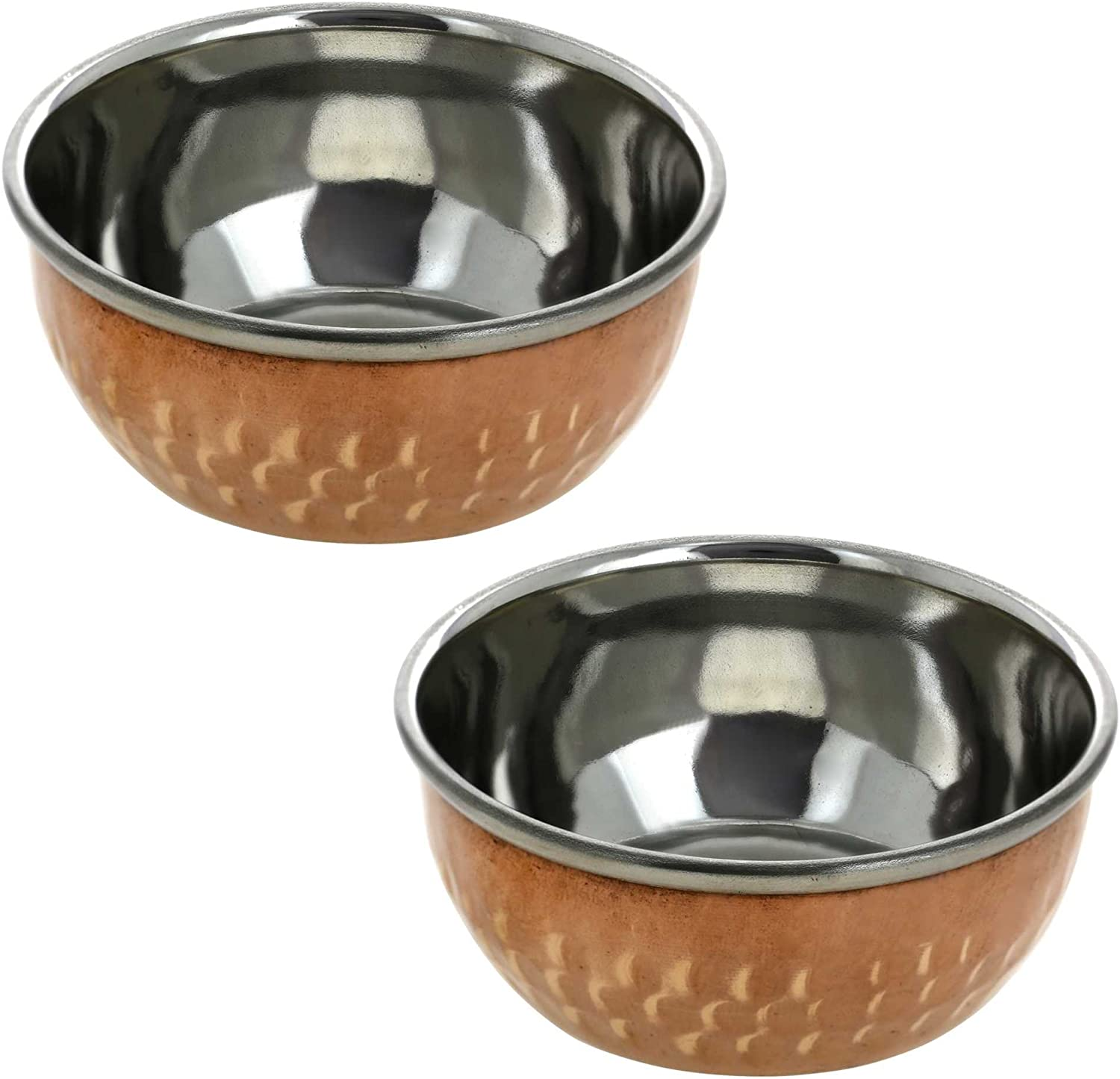 2 Handmade Indian Stainless Steel and Copper Serving Bowl Set - Unique Traditional Home Kitchen Gifts