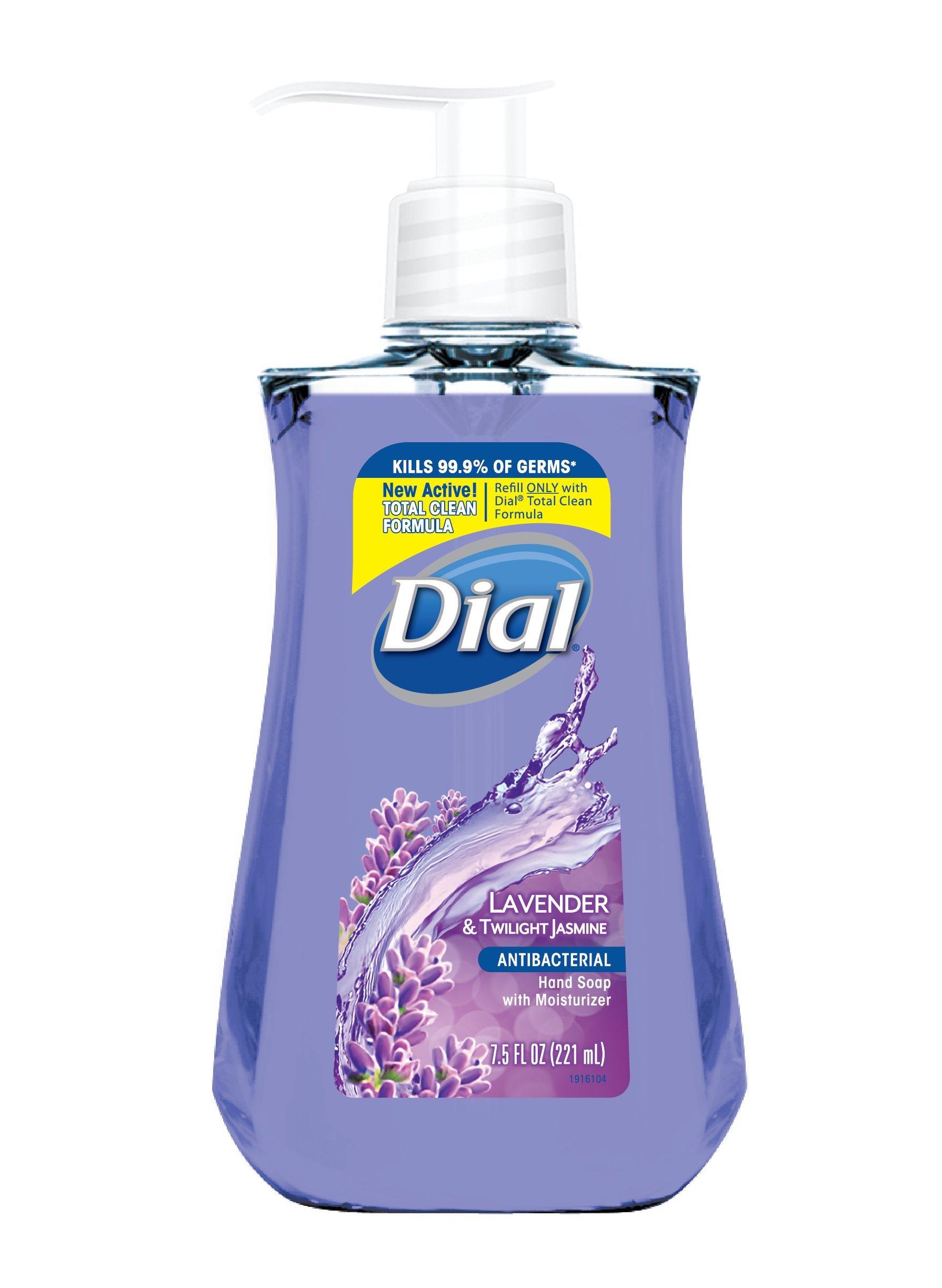 Dial Antibacterial Liquid Hand Soap, Lavender & Twilight Jasmine, 7.5 Fluid Ounces
