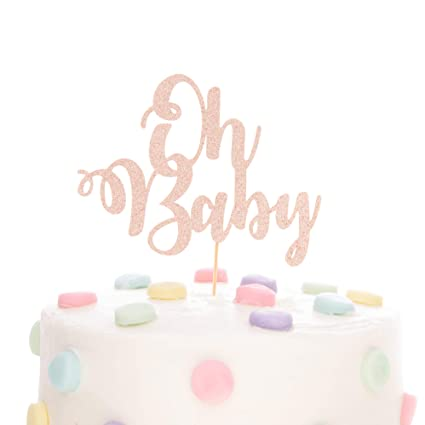 4 Pack Oh Baby Cake Topper Acrylic Color Gold Baby Shower Decorations Gender Reveal Party Supplies