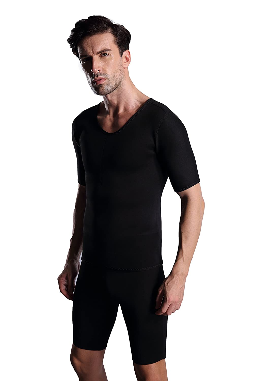 Ausom Herren Thermo-Schlanker Alles Passende Schwarz Korsett Shirt f/ür Schwei/ß Mehr Fettverbrennung und Gewichtsverlust mit Kurzen /Ärmeln